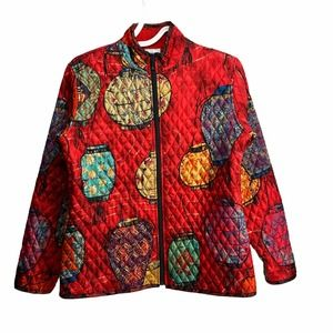 CHICO'S Red Chinese Lantern Quilted Silk Jacket M